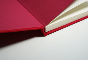 open red linen fabric notebook