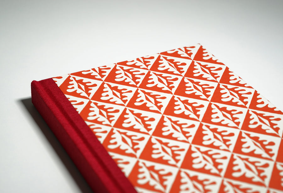 red tile patterned notebook cover