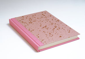 Copper Metallic Splatter and Blush Notebook with Pink Spine and Back