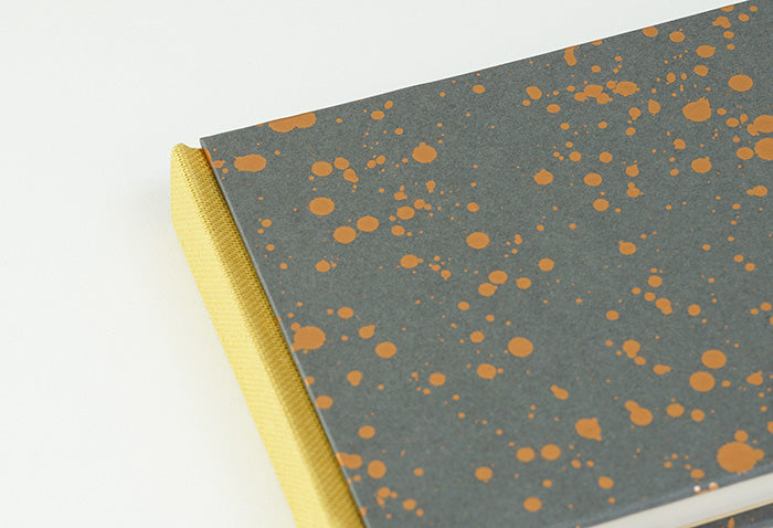 Grey and Gold Splatter Pattern with Mustard Spine