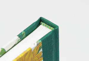 Sunflower Patterned Notebook with Green Spine