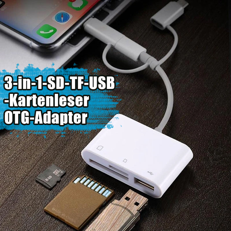 3-in-1 SD-TF-USB-Kartenleser OTG-Adapter