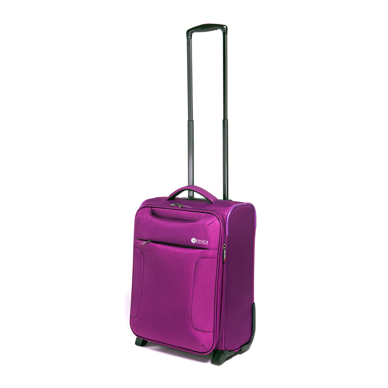 Tosca Plum 52CM Cabin Approved 2-Wheel Trolley Case