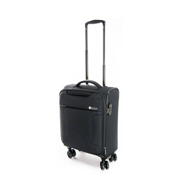 Tosca Black 52CM Cabin Approved 4-Wheel Trolley Case