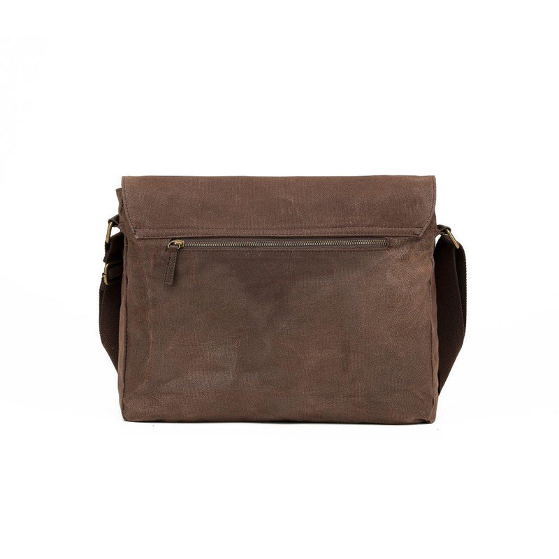 WC004 Waxed canvas reporter style satchel
