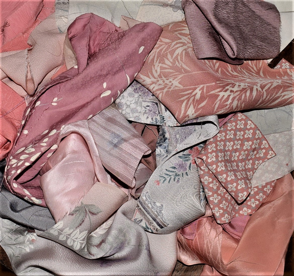 Kimono Remnants  -  Pastel Pink and Grey