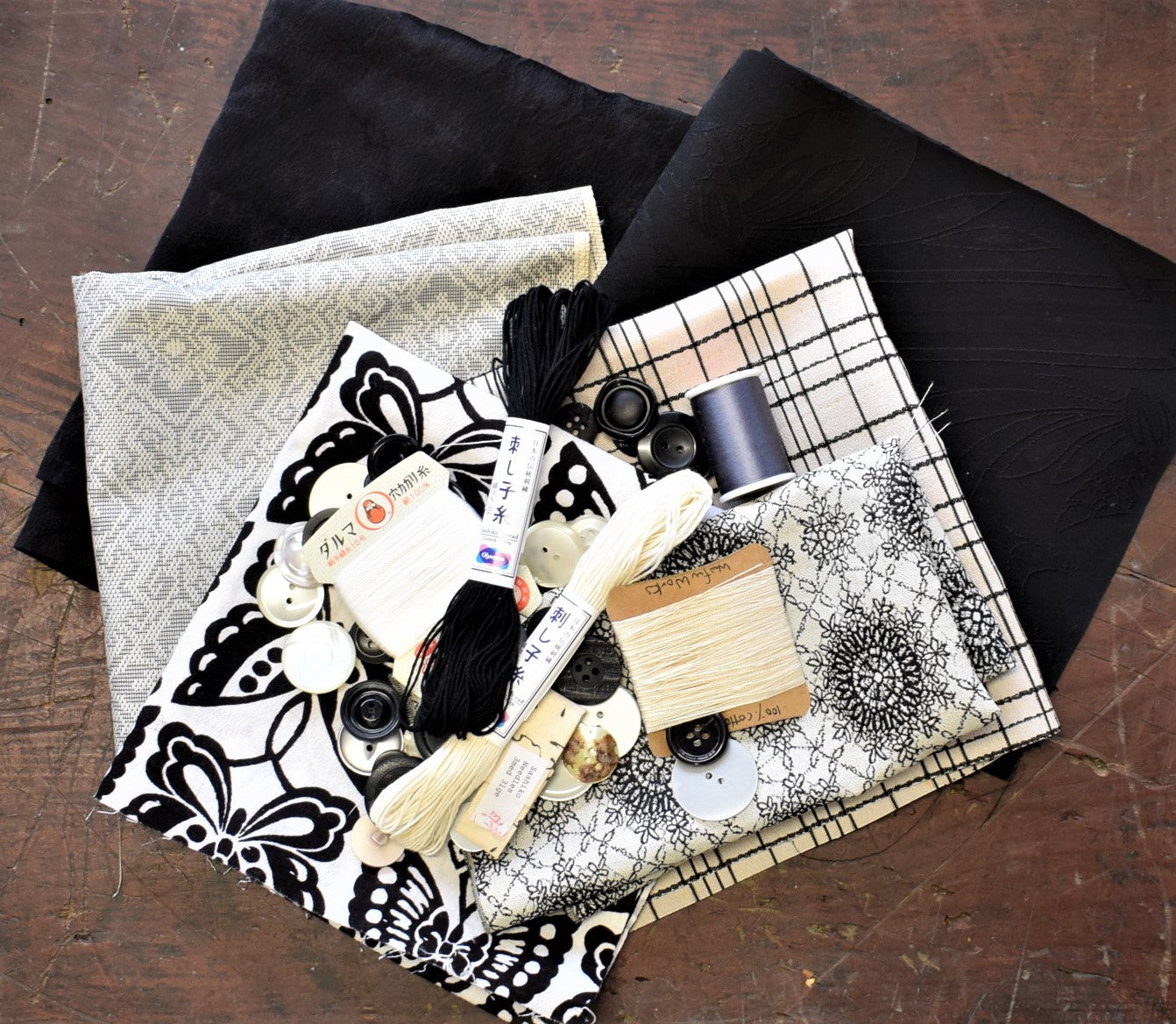 Slow Stitch Play Pack - Black & White