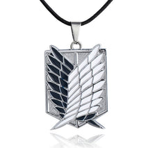 Load image into Gallery viewer, Japanese Anime Attack on Titan Necklace Wings of Liberty Shingeki No Kyojin Leather Chain Gold Silver Pendant Accessories Women