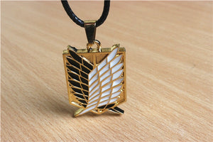Japanese Anime Attack on Titan Necklace Wings of Liberty Shingeki No Kyojin Leather Chain Gold Silver Pendant Accessories Women