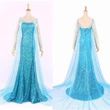 Load image into Gallery viewer, Elsa Queen Princess Adult Women Cocktail Party Dress Costume Elsa Dresses Blue Bling Snow Cosplay Dress Z3
