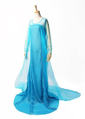 Elsa Queen Princess Adult Women Cocktail Party Dress Costume Elsa Dresses Blue Bling Snow Cosplay Dress Z3