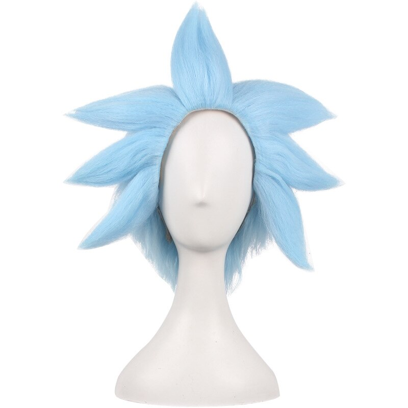 Rick and Morty Rick Sanchez Cosplay Blue Hair Short Wigs Rick and Morti Cosplay Prop Synthetic Hair + Wig Cap Role Play Prop