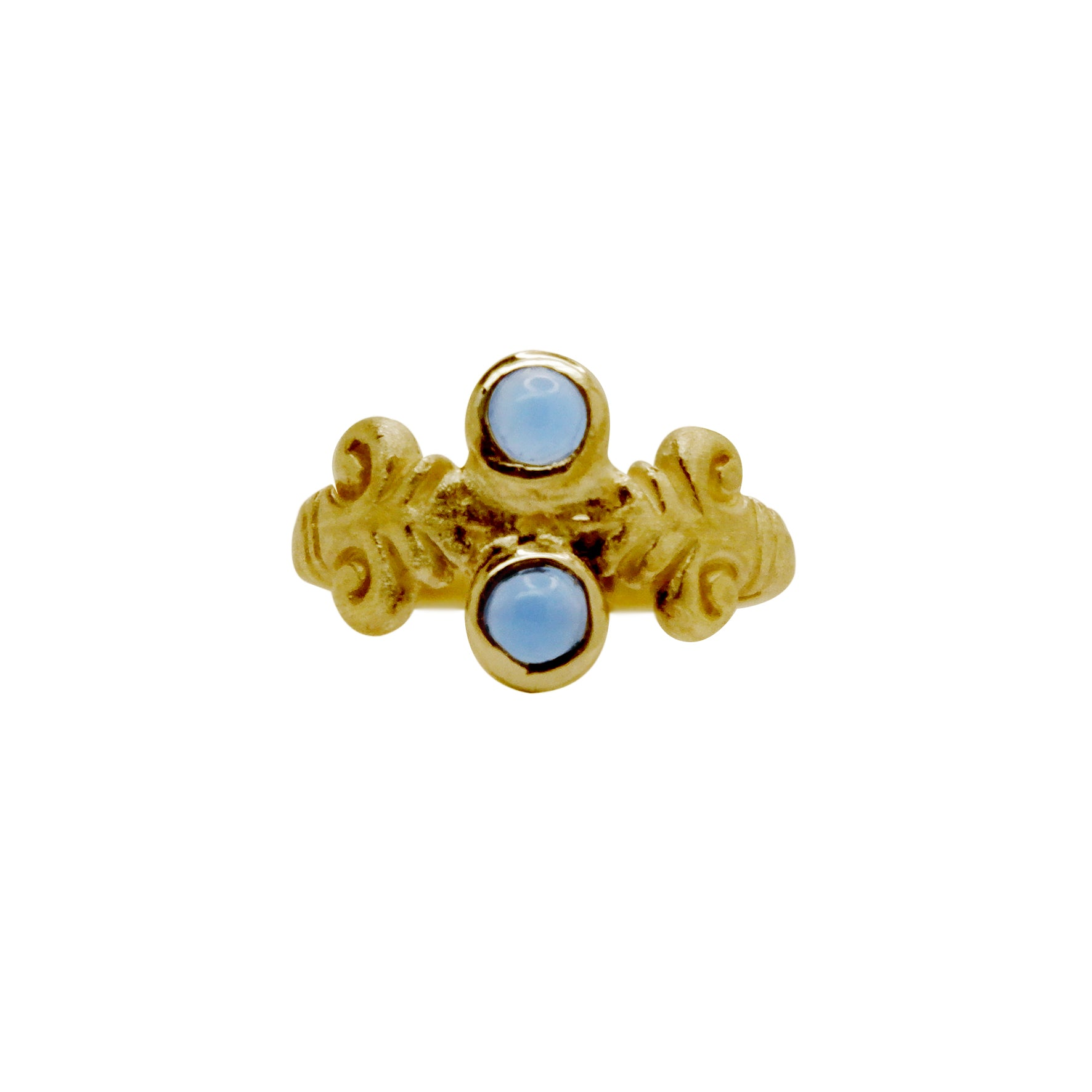 Hunt Of Hounds Acanthus Ring in Gold with Blue Lace Agate gemstones. Botanical leaf ring with classical detail.