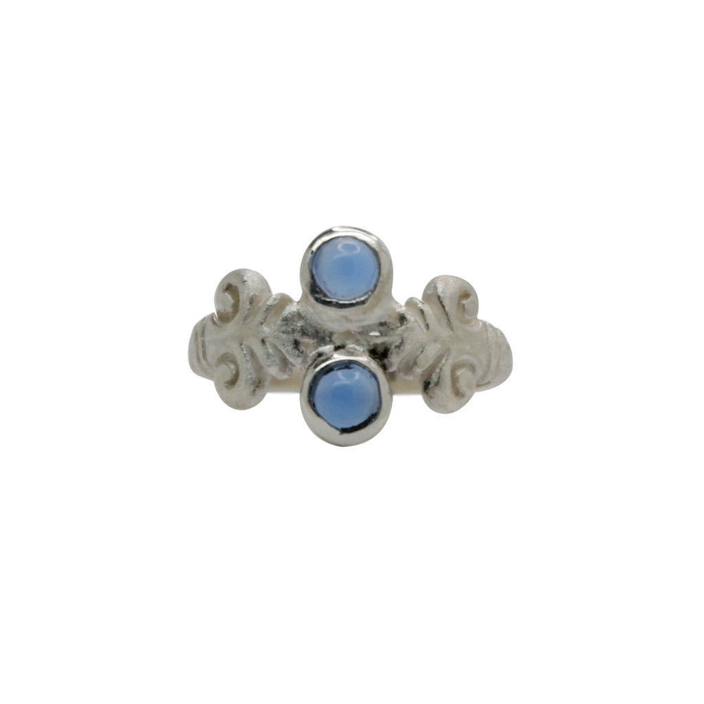 Hunt Of Hounds Acanthus Ring in Silver with Blue Lace Agate gemstones. Botanical leaf ring with classical detail.