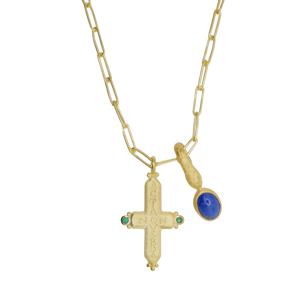 Hunt Of Hounds Acta Non Verba (Deeds Not Words) Necklace in Gold with Lapis. Clip chain necklace with cross pendant and snake charm with lapis.