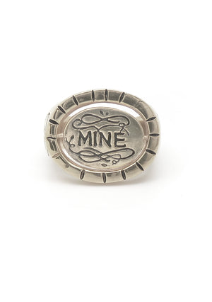 Hunt Of Hounds Bee Mine ring in silver. Spinning signet ring with bee image and the word mine on reverse. Unisex.