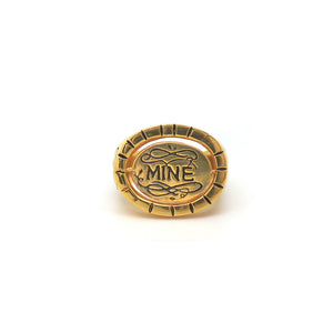 Hunt Of Hounds Bee Mine ring in gold. Spinning signet ring with bee image and the word mine on reverse. Unisex.