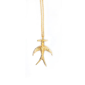Hunt Of Hounds Cassandra necklace. Messenger bird pendant in gold. Unisex.