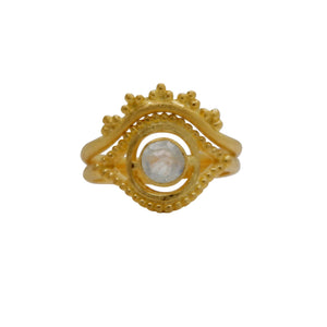 Hunt Of Hounds Nyx Ring. Eye ocular shape with moonstone stacked with Eos ring. Day and night combo.