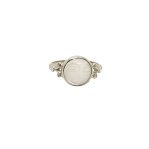 Hunt Of Hounds Man In The Moon Ring. Face carved in Moonstone set in decorative band.