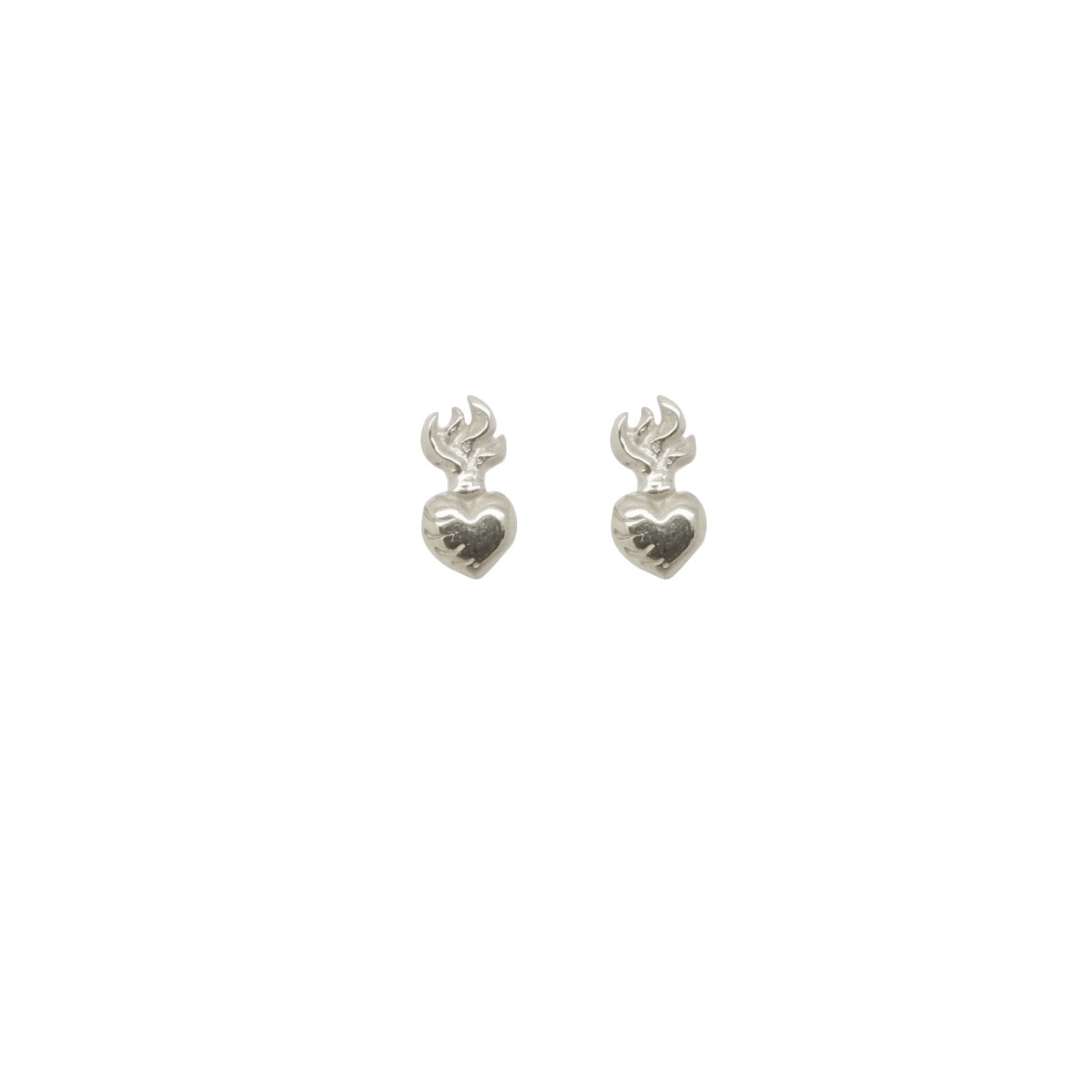 Hunt Of Hounds Sacred Heart Stud Earrings. Small hearts with flame.