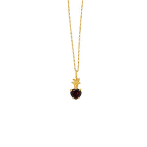 Hunt Of Hounds Devotion Necklace. Red garnet heart shaped charm. Symbol of passion and devotion.