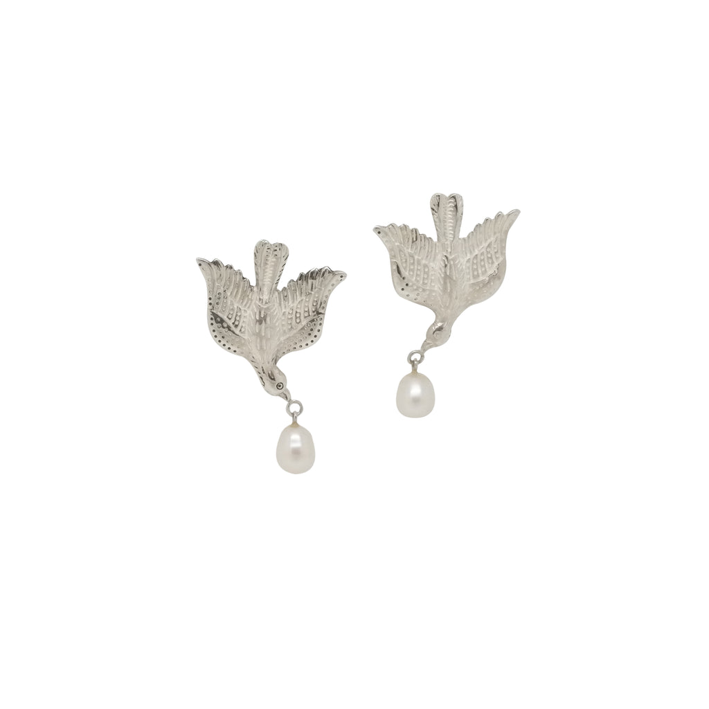 Hunt Of Hounds Sparrow Earrings with pearl. Symbols of joy. Detailed bird with pearl hanging from beak.
