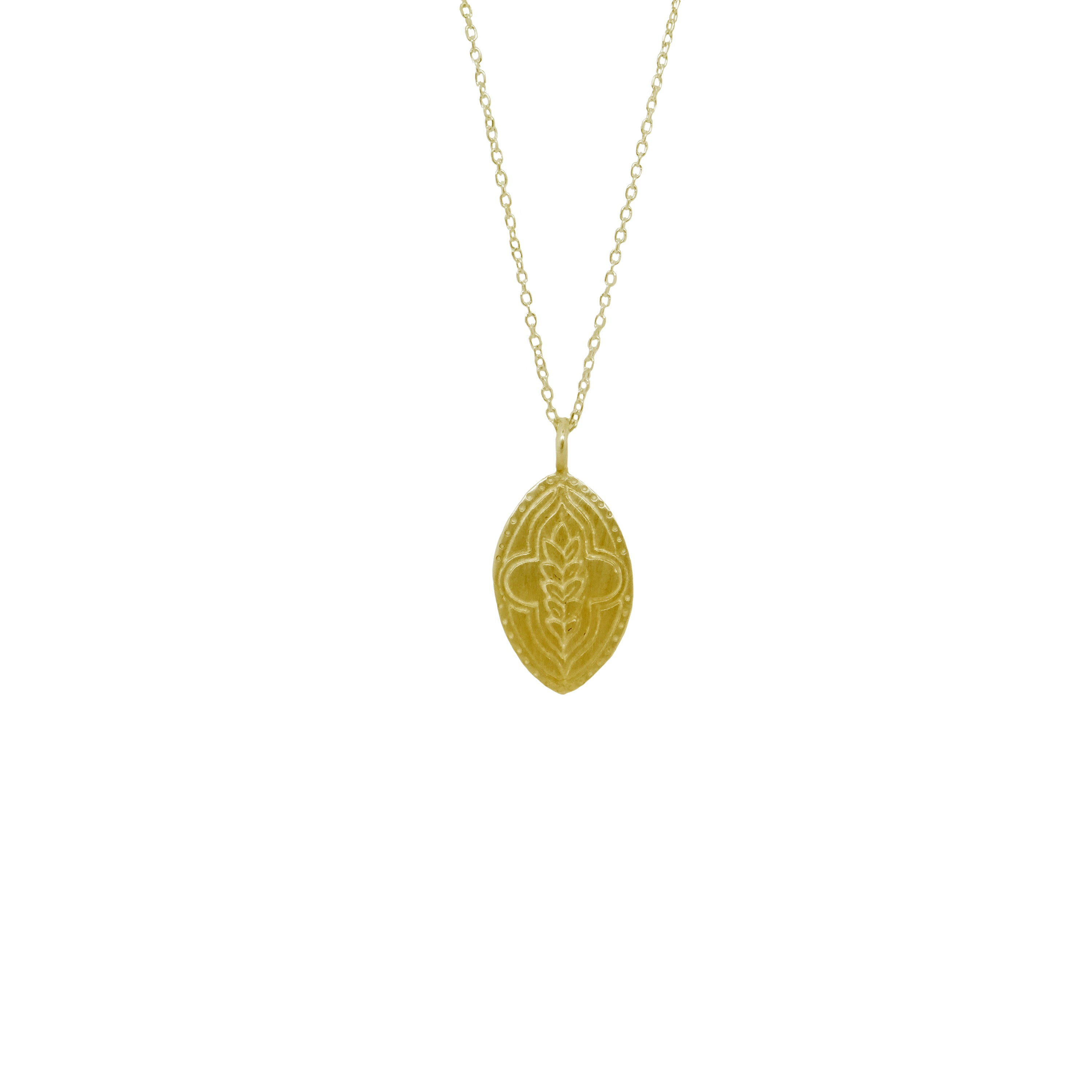 Hunt Of Hounds Abundance Necklace in gold. Wheat sheaf coin pendant necklace. Unisex.