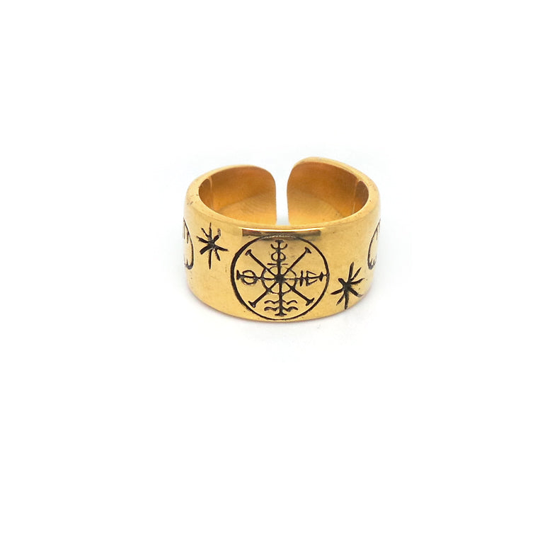 Hunt Of Hounds Future In My Hands Ring. Symbols of fate and fortune with hands. Unisex.