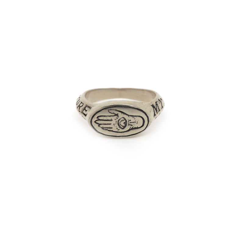 Hunt Of Hounds Future In My Hands Signet Ring. Hand of fate with text on band. Eye and hand. Unisex.