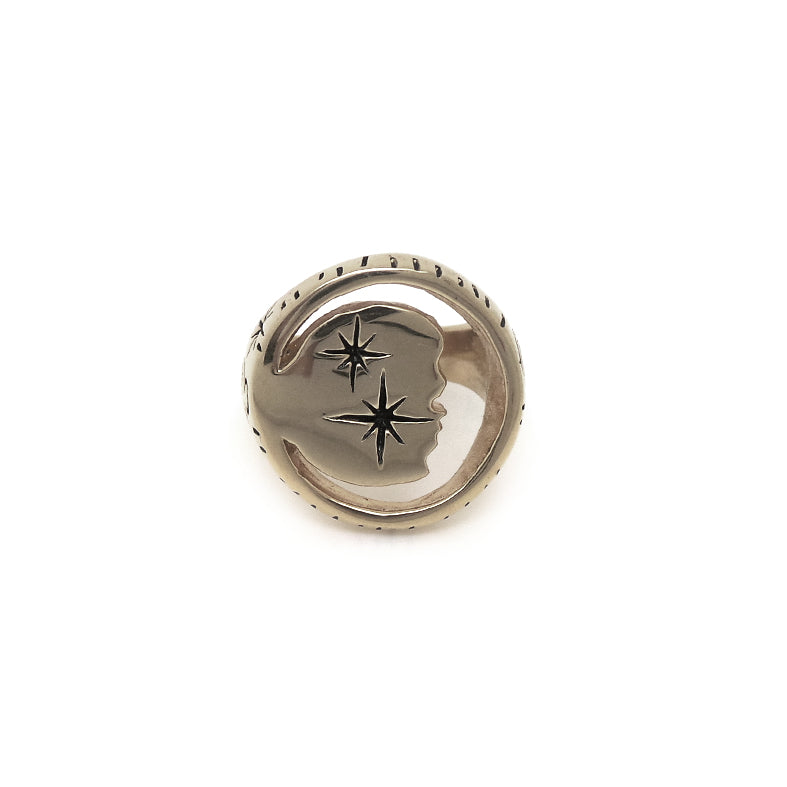 Hunt Of Hounds Moondust Signet Ring. Cut out moon shape with stars.