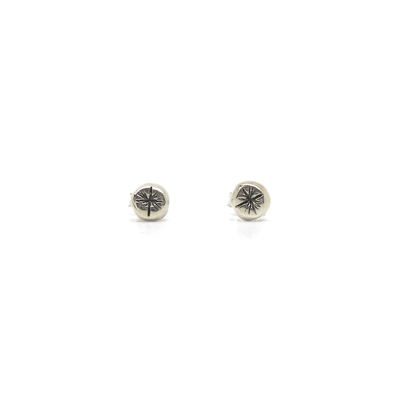 Hunt Of Hounds Starburst Stud Earrings. Tiny rustic stars.