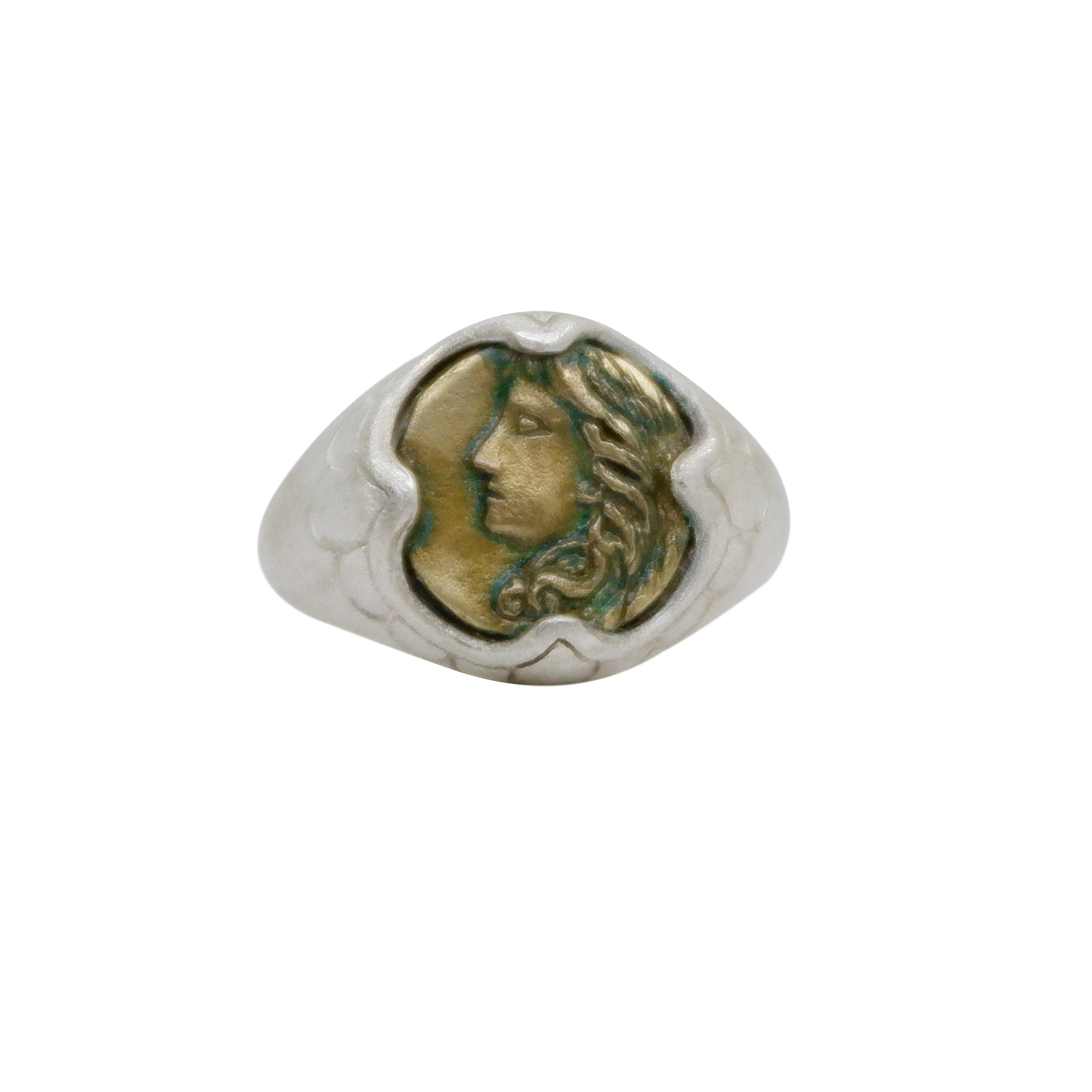 Hunt Of Hounds Hera Ring. Ancient coin ring with goddess engraving. Oxidized brass coin. Inspired by found treasure.