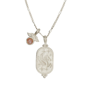 Hunt Of Hounds Pegasus Necklace. Coin pendant necklace with pegasus and stars. Sunstone charm with wings.
