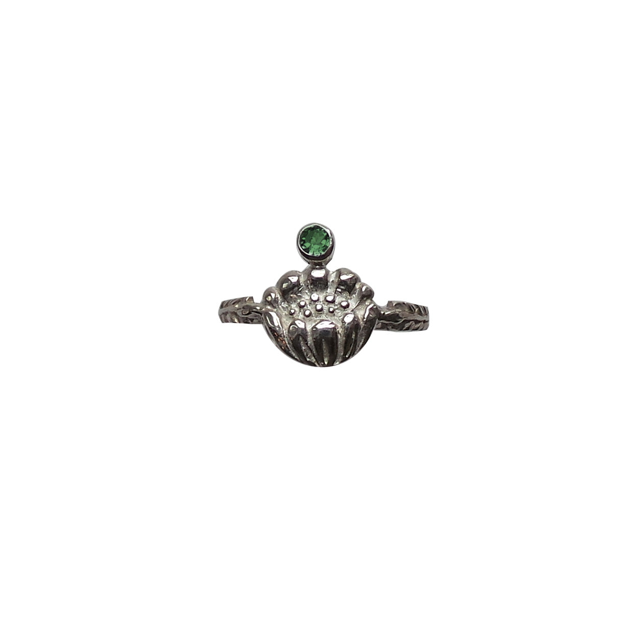 Hunt Of Hounds Adonis Flower Ring in Silver. A flower mounted on a botanical leaf band with gemstone.