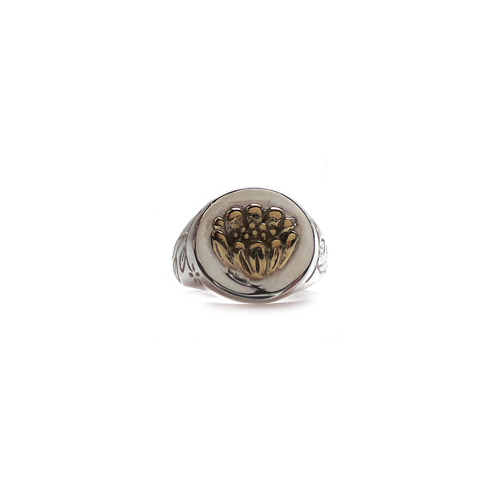 Hunt Of Hounds - Adonis Flower Signet Ring. Silver with brass detailing. Adonis flower is a symbol of memory. On a decorative botanical band. Unisex.