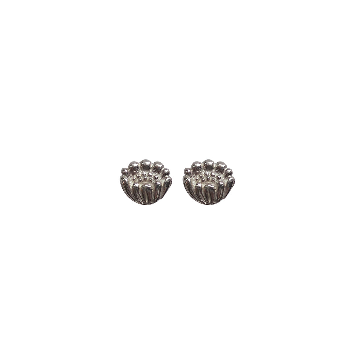 Hunt Of Hounds Adonis Flower Stud Earrings in silver. Symbol of memory.