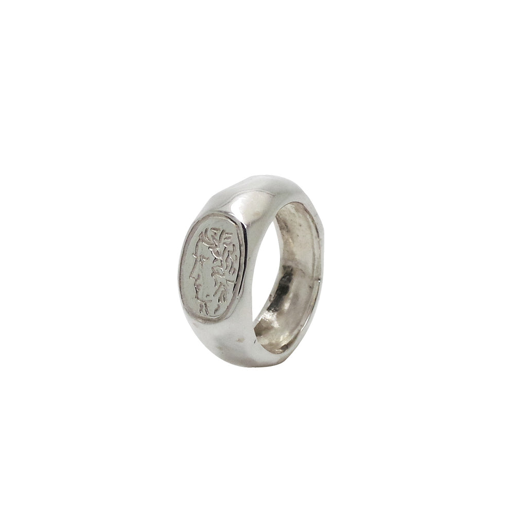 Hunt Of Hounds Persephone Seal Ring. Carved ancient Roman design of a woman's face. Unisex.