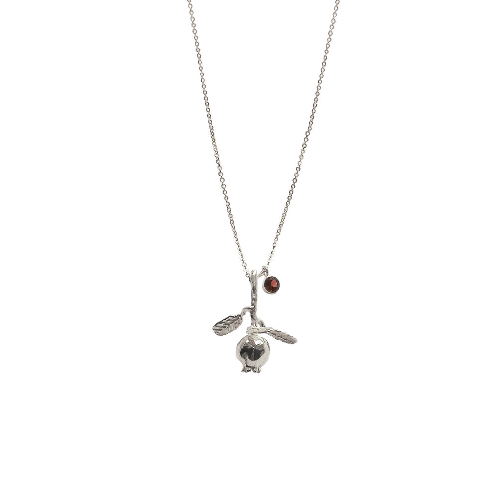 Hunt Of Hounds Pomegranate Necklace with garnet gem charm.