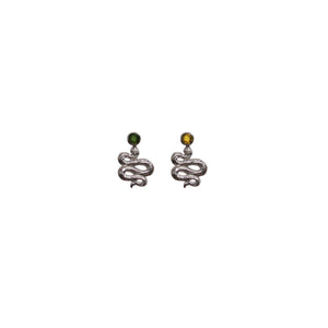 Hunt Of Hounds Serpent Stud Earrings. Snake design with mix and match tourmaline gems.