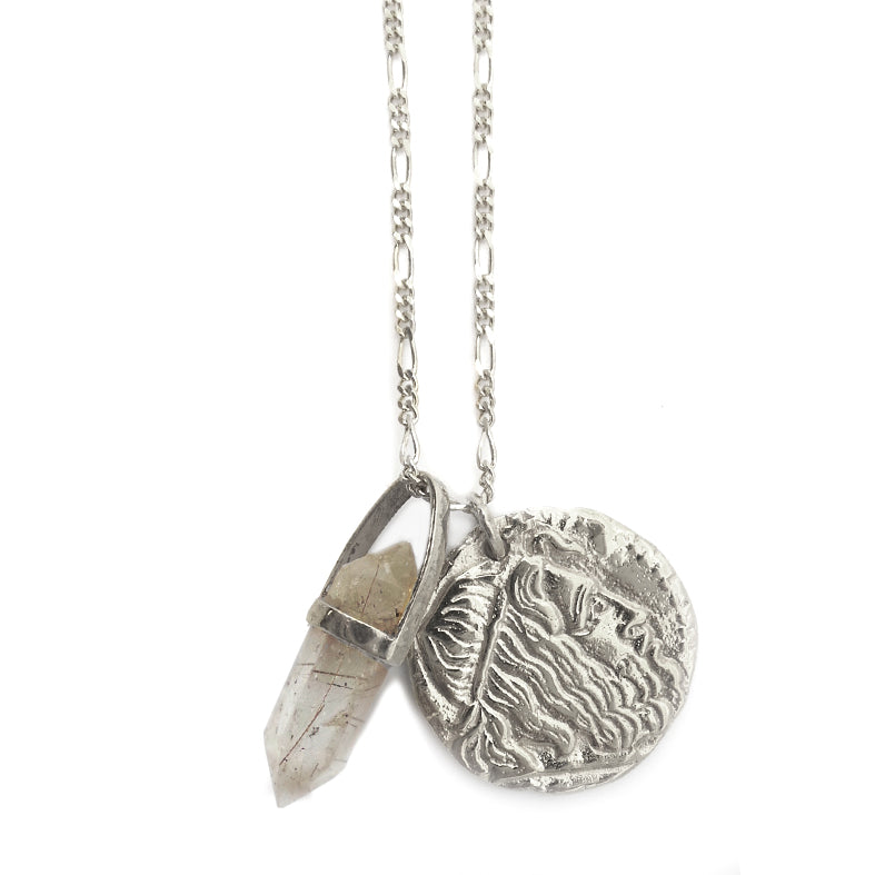 Hunt Of Hounds Neptune Necklace. Ancient coin style with raw quartz. He who guards never sleeps.