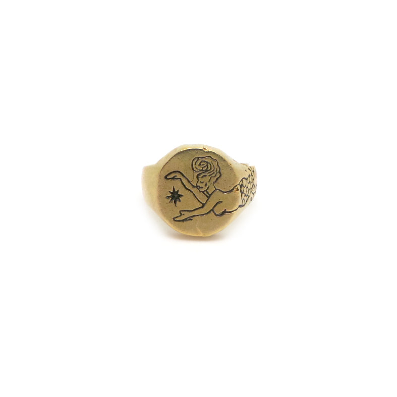 Hunt Of Hounds Siren Signet Ring. Mermaid and North star design. Tail wraps on band.