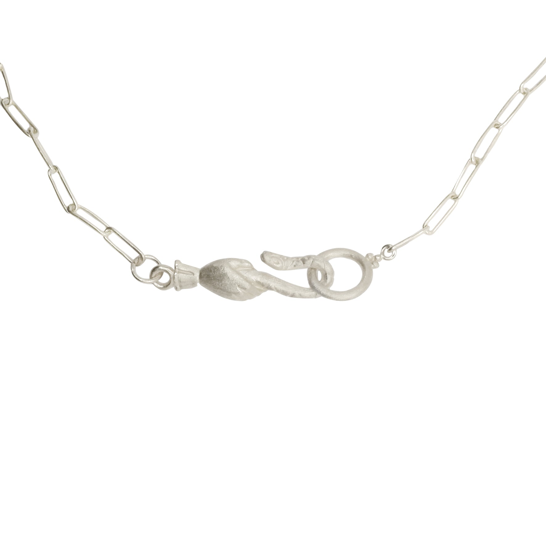 Hunt Of Hounds Serpent Hook Clip Chain Necklace. House made clip chain and signature hook. A hand holding a serpent.