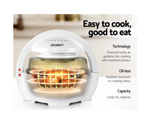 Devanti 13L Air Fryer Oven Cooker - White