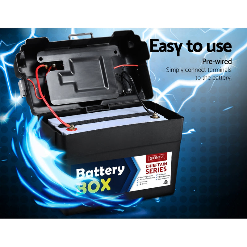 GIANTZ 130Ah Deep Cycle Battery & Battery Box 12V AGM Marine Sealed Power Solar