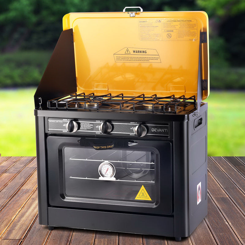Devanti 3 Burner Portable Oven - Black & Yellow