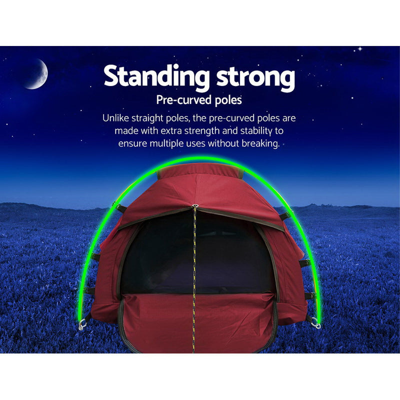 Weisshorn Biker Swag Camping Single Swags Tent Biking Deluxe Rip Stop Canvas with Carry Bag