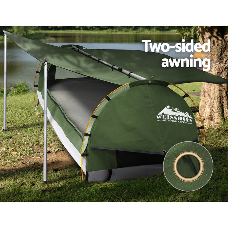 Weisshorn Double Swag Camping Swags Canvas Free Standing Dome Tent Celadon with 7CM Mattress