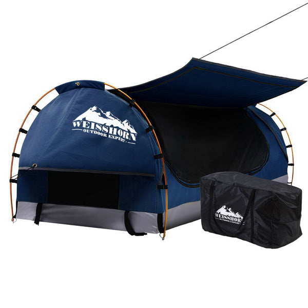 Weisshorn Swag King Single Camping Swags Canvas Free Standing Dome Tent Dark Blue with 7CM Mattress