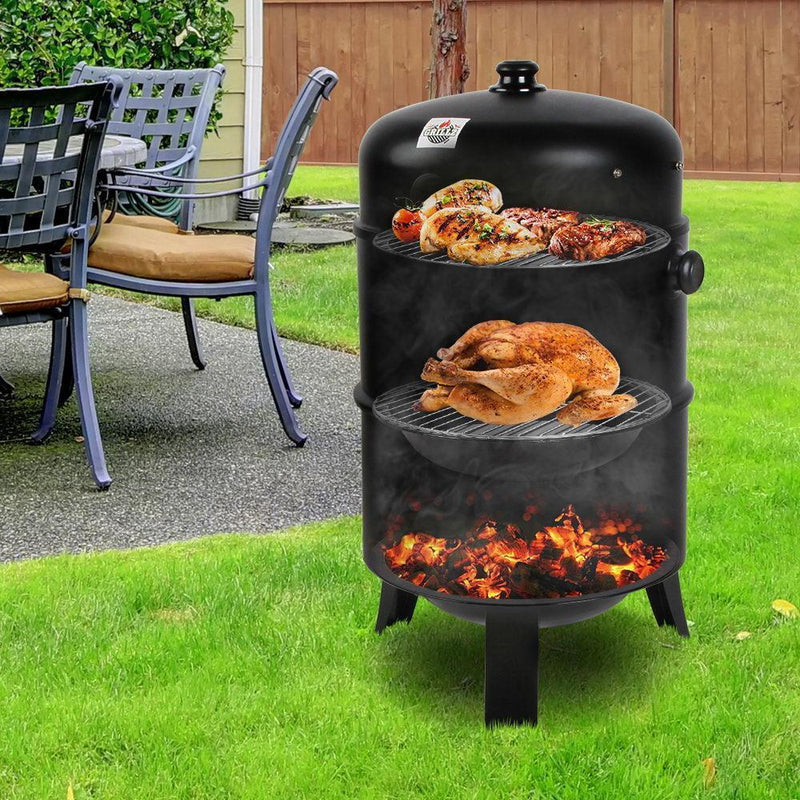 Grillz 3-in-1 Charcoal BBQ Smoker - Black DSZ